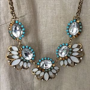Anthropologie necklace turquoise amber white